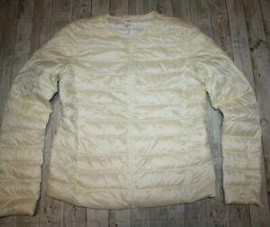 UNIQLO women M Down Zip Jacket Ivory Ultra Light