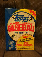 1986 Topps MLB Baseball Wax Pack 12 picture cards 1 stick bubble gum