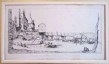 Passerelle du Pont-au-Change, après l'incendie de 1621etching by Charles Meryon