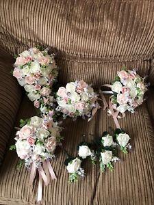 Wedding Flowers  XL Bridal Bouquet  Flower Package (BUNDLE) White & Pinks