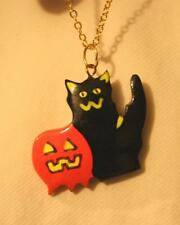 Sculpted Black Orange Balsa Wood Halloween Black Cat Pumpkin Goldtone Necklace