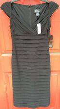 NEW Adrianna Papell Tiered Sheath Dress `Black` Size 0 Cap Sleeve Retails $169