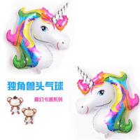 Hot 2PCS Unicorn Rainbow Foil Helium Balloon Children Birthday Party Decor LrJNE