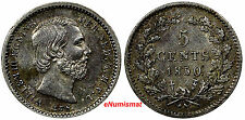 Netherlands William III Silver 1850 5 Cents Sword Dot in Date Toning KM# 91