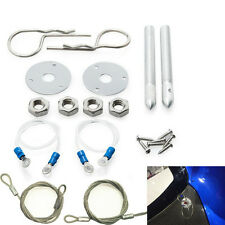 "Muscle Car Silver 3/16"" Hair Pin Style Hood Cover Set With Lanyards Lock Studs"