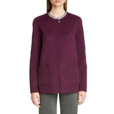 St. John Women's Double Face Cashmere Wool Blend Jacket Plum Size 14 $1195 New
