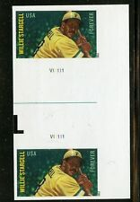 Willie Stargell Imperf Gutter Pair with Plate #V11111 Mint Self-adhesive (R)
