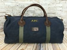 LL BEAN Heritage Waxed Canvas / Leather Duffle Bag Freeport Maine BLUE