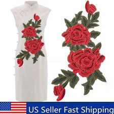Rose Flower Motif Collar Sew on Patch Applique Badge Embroidered Bust Dress USA