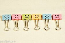 Home Office Smiling Face Clips, File Organizer Paper Holder, Cute Lovely 40 Pack