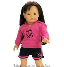 Heart Hoodie & Shorts 18 in Doll Clothes Fits American Girl