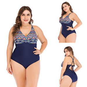 Women One Piece Swimsuit Padded Aztec Slim Swimwear UK Size Plus 8-22 UK SELLER