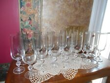 Bohemia Crystal Claudia Lot of 15 Champagne Flutes Glasses Stems Czechoslovakia