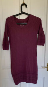 Womens / Girls Fat Face Purple / Plum Knitted Tunic Dress Half Sleeves UK 12