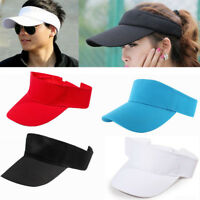 Plain Visor Sun Cap Sport Hat Adjustable Tennis Golf Beach Men Women 4 Colors