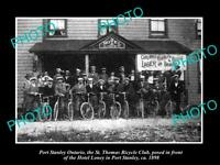 OLD POSTCARD SIZE PHOTO OF PORT STANLEY ONTARIO St THOMAS BICYCLE CLUB c1898