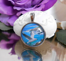 Ketten Anhänger Vogel Möwe Meer Glas Cabochon 25 mm  - Amulett