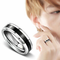 Black Titanium Stainless Steel Jewelry Band Ring For Men Women Size 7-12 CHI