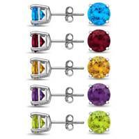 Genuine Birthstone Stud Earrings Sterling Silver 925 Basket Set - 5mm Gemstones