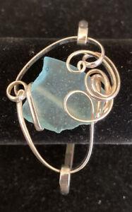 "Blue Sea Glass Silver Tone Wire Wrapped 7"" Bracelet"