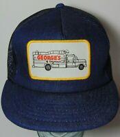 Vintage 1980s GEORGE'S OF SEYMOUR INDIANA DENIM PATCH SNAPBACK TRUCKER HAT CAP