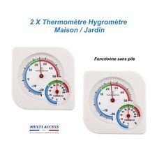 2 X Thermomètre Hygromètre Intérieur Extérieur Maison Jardin Mécanique Blanc