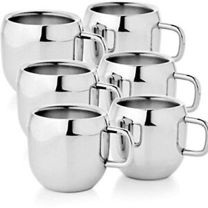 Stainless Steel Double Wall Plan Coffee/Tea Apple Shape Mug (Set of 6 - 100 ML)