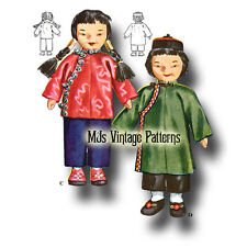Chinese Boy & Girl Vintage International Cloth Dolls Pattern