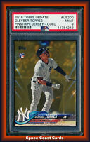 2018 TOPPS UPDATE GOLD #'D #US200 GLEYBER TORRES RC PSA 9 MINT PINSTRIPE JERSEY