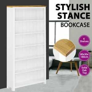 vidaXL 6-Tier Solid Oak Wood Bookcase Display Rack Home Storage Organiser