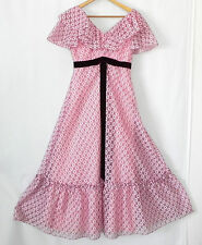 Vtg ILGWU Union Made Dress Pink Lace Maxi Ruffle Trim Cap Sleeve Size S/M