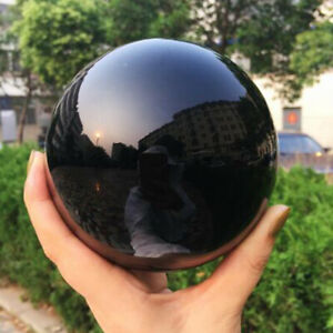 Natural Black Obsidian Sphere Quartz Crystal Ball Healing Reiki Stone Home Decor