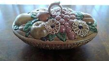 Vintage Handmade 1975 Ceramic Lidded Fruit Basket Kitchen Gift