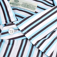 100% new LUIGI BORRELLI shirt white sky blue brown stripes 44 - 17 1/2 160192