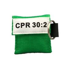 20 Green CPR Facial Shield Mask in Keychain with GLOVES