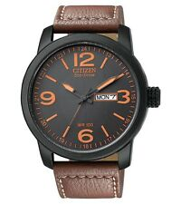 Mens Citizen Eco-Drive Brown Leather Military Watch with Day Date BM8475-26E