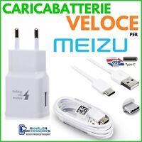 CARICABATTERIE VELOCE FAST CHARGER per MEIZU PRO 7 PRESA MURO USB + CAVO TIPO C
