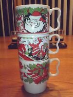 Vintage Christmas Mugs Stackable 1950's Made In Japan Set Of Three Santa Claus