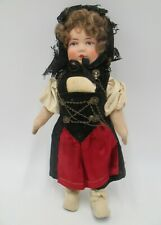 Beautiful Vintage Cloth Bing Doll in Swiss Costume