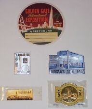 GOLD & SILVER  FOIL STAMPS FROM THE 1939 NY WORLDS FAIR & THE GOLDEN GATE EXPO