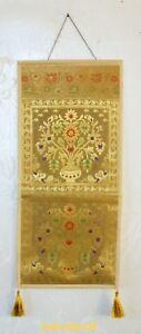 Indian Handicrafts Wall Art Banarasi Brocade Hanging Floral Letter Holder Box