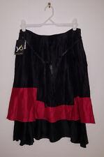YB YVONNE BLACK Designer Black/Red Linen/Silk Blend Layered Skirt NWTag Size 14