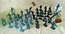 CIVIL WAR PLAYSET SOLDIERS HORSES CONFEDERATE UNION CANNON PLASTIC LOOSE.