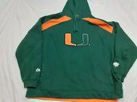 VTG University of Miami Hurricanes UM Green Orange Sewn Majestic Jacket Mens 2XL