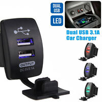 12-24V 3.1A Dual LED USB Car Auto Power Supply Charger Port Socket Waterproof SE