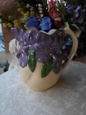 unique vintage PITCHER homemade studio ceramic purple iris flowers cottage chic