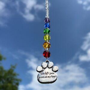 New Sun Catcher Pet Loss Memorial Keepsake ~ Rainbow Bridge ~ Paw Charm Message
