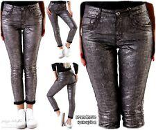 Damen Röhrenhose Metallic mit Animalprint Reptil-Look Silber #H1732