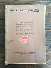 Pièces pour  Harmonium Cinq entrées Henri Lotocart Librairie de l'Art Catholique