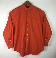 Ralph Lauren Men's Size Large Front Button Orange Long Sleeve Shirt With  Logo